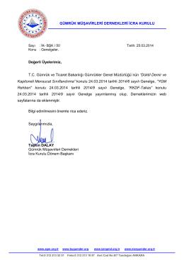 İK- BŞK / 50 - Ankara Gümrük Müşavirleri Derneği