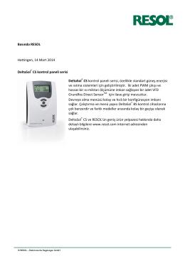 Basında RESOL Hattingen, 14 Mart 2014 DeltaSol® CS kontrol