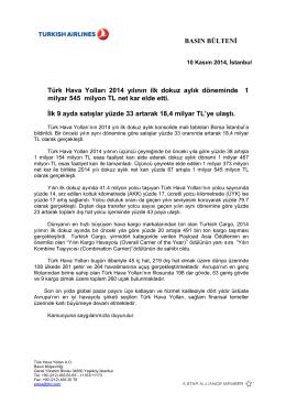 2014 - 3. Çeyrek Basın Bülteni