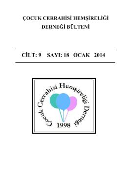 2014 Ocak - Çocuk Cerrahisi Hemşireliği Derneği