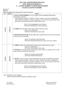 2013–2014 eğitim-öğretim yılı ayşe özbağı ilkokulu 2