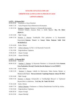 1.GÜN - 10 Kasım 2014 08:00-09
