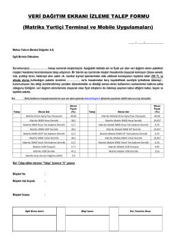 Matriks Yurtiçi Terminal ve Mobile Uygulamaları