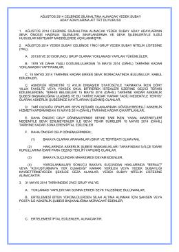 ağustos 2014 celbinde silâhaltına alınacak yedek subay aday