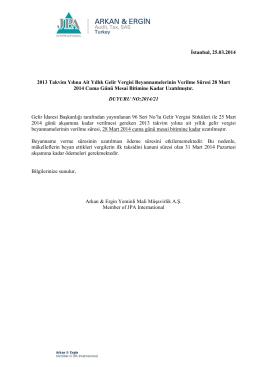 İstanbul, 25.03.2014 2013 Takvim Yılına Ait Yıllık