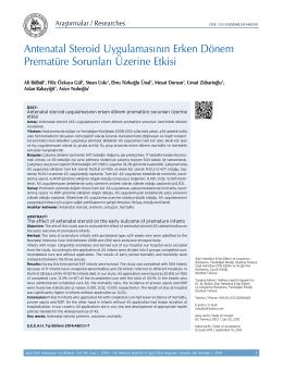 Antenatal Steroid Uygulamasının Erken Dönem Prematüre Sorunları