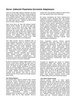 Xerox: Çalkantılı Pazarlama Çevresine Adaptasyon