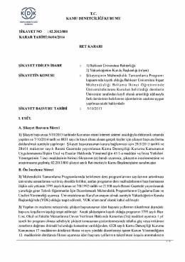 T.C KAMU DENETÇİLİĞİ KURUMU ŞİKAYET NO : 02.2013/800