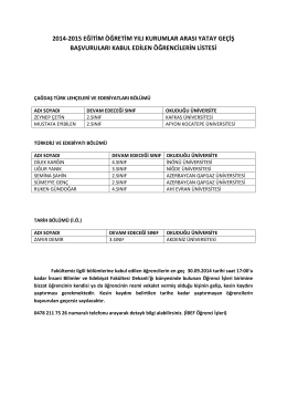 2014-2015 eğitim öğretim yılı kurumlar arası yatay geçiş başvuruları
