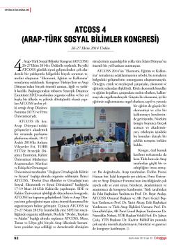 atCOSS 4 (araP-tÜrK SOSyaL BiLiMLer KONgreSi)