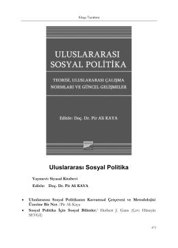 Uluslararası Sosyal Politika (Editör: Pir Ali KAYA)