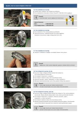 İpuçları, test ve onarım bilgileri: Disk freni