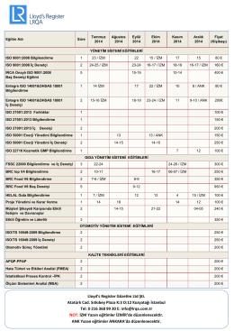 Eylül - Ekim - Kasım - Aralık 2014 Eğitim Programımız (pdf, 337kb)