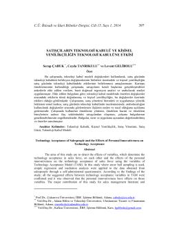 C.Ü. İktisadi ve İdari Bilimler Dergisi, Cilt 15, Sayı 1, 2014 397