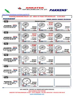 pakkens manometreler alt arka ve pano tipi modeller 15.05.2014