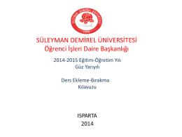 2014-2015 Güz Ekle-Sil Sunusu - Öğrenci İşleri Daire Başkanlığı