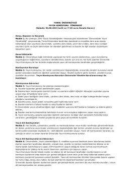 Toros Üniversitesi Yayın Komisyonu Yönergesi