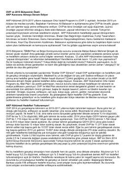 OVP ve 2015 Bütçesinin Özeti: AKP Karavana Atmaya Devam