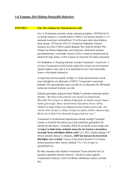 1-6 Temmuz 2014 Haftası Denizcilik Haberleri