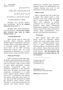 12.09.2014 Tarihli Hutbe : İSLAMDA EĞİTİM VE ÖNEMİ