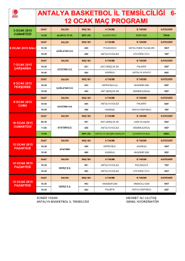 6-12 Ocak Maç Programı - Antalya Gençlik ve Spor İl Müdürlüğü