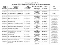2014-2015 öğretim yılı güz dönemi bütünleme tarihleri