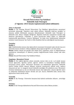 Kocaeli Üniversitesi Tıp Fakültesi Hekimlik Andı Yönergesi (7