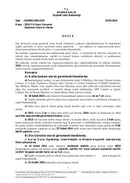 2014 yılı haccı personel seçimine ilişkin kriterler.