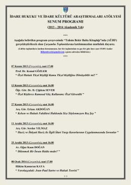 sunum programı - Ankara Üniversitesi Hukuk Fakültesi