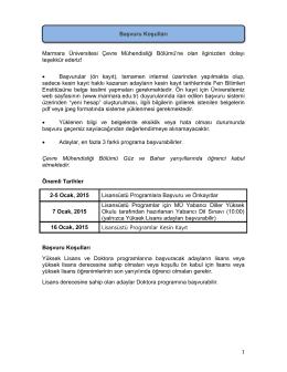 Başvuru Koşulları - Marmara Üniversitesi