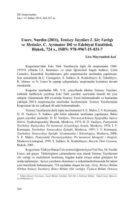 Useev, Nurdin (2011), Yenisey Yazıtları I. Söz
