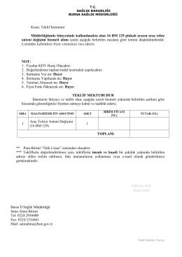 Teklif - Bursa İl Sağlık Müdürlüğü