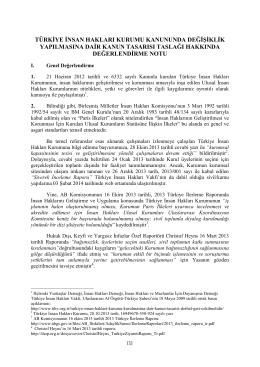 türkiye insan hakları kurumu kanununda değişiklik yapılmasına dair
