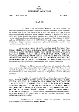 T.C. MUĞLA CUMHURİYET BAŞSAVCILIĞI Sayı : B.M. 2014/ 6790