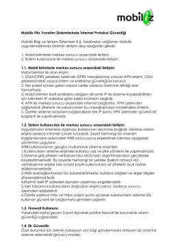 Mobiliz Filo Yonetim Sistemlerinde İnternet Protokol Güvenliği