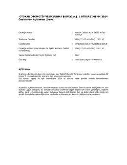 Özel Durum Açıklama Formu - 08.04.2014