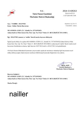 T.C. Türk Patent Enstitüsü Markalar Dairesi Başkanlığı 2014-O