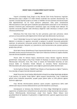 Şubat - 2014 Faaliyet Raporu - Murat Nehri Havzası Rehabilitasyon