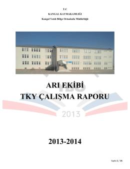 arı ekibi tky çalışma raporu 2013-2014