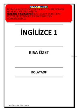 İNGİLİZCE 1