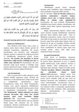 İYİLİĞİ TEŞVİK - Osmaniye İl Müftülüğü