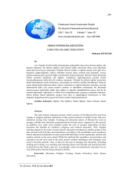 Erken Dönem İslamî Eğitim - Journal of International Social Research