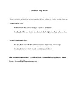 seminer başlıkları - İlahiyat Fakültesi
