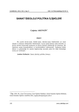 SANAT İDEOLOJİ POLİTİKA İLİŞKİLERİ