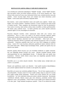 BESİ RASYONLARINDA DİKKAT EDİLMESİ GEREKENLER Yem
