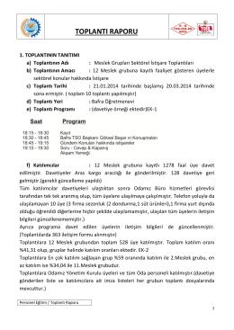 Genel Sonuç Raporu - Bafra Ticaret ve Sanayi Odası