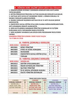 2014-2015 Güz Dönemi Ders Kayıtları