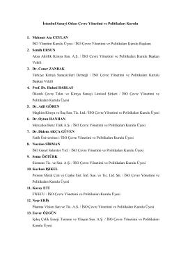 İstanbul Sanayi Odası Çevre Yönetimi ve Politikaları Kurulu 1