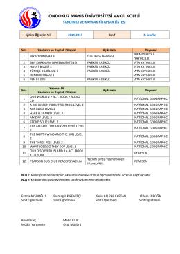 3. Sınıflar Kitap Listeleri