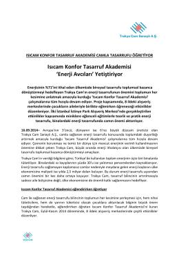 Trakya Cam Isıcam Konfor Tasarruf Akademisi Basın Bülteni için